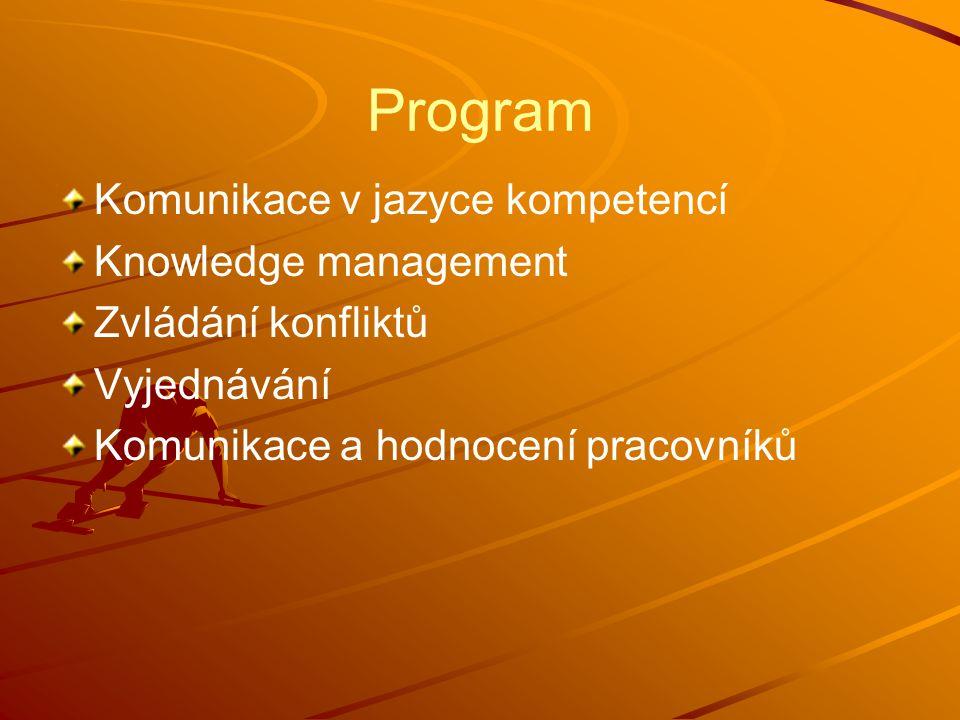 Program Komunikace v jazyce kompetencí Knowledge management