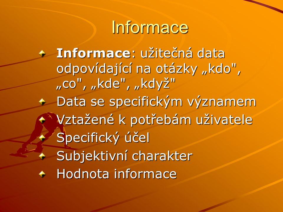 """Informace Informace: užitečná data odpovídající na otázky """"kdo , """"co , """"kde , """"když Data se specifickým významem."""