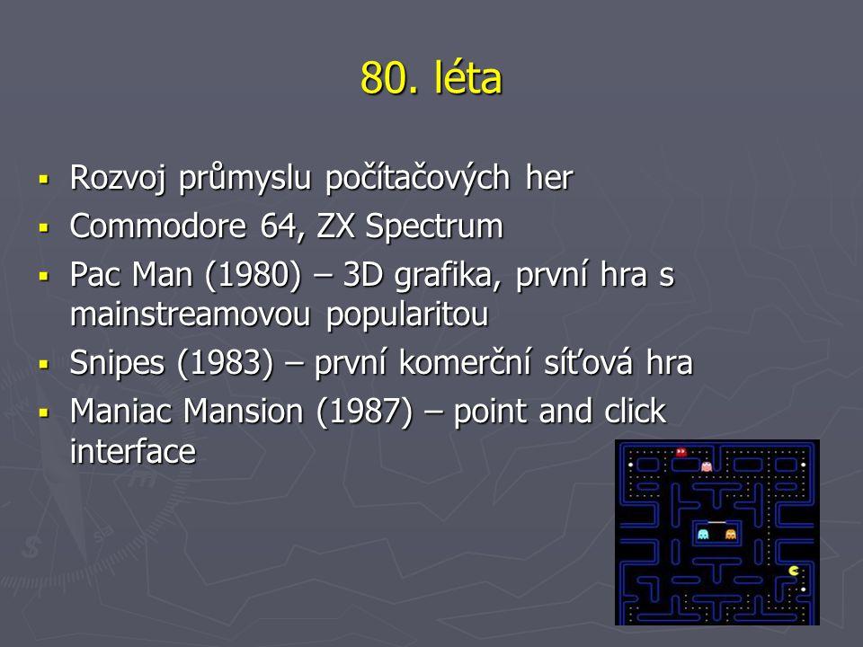 80. léta Rozvoj průmyslu počítačových her Commodore 64, ZX Spectrum
