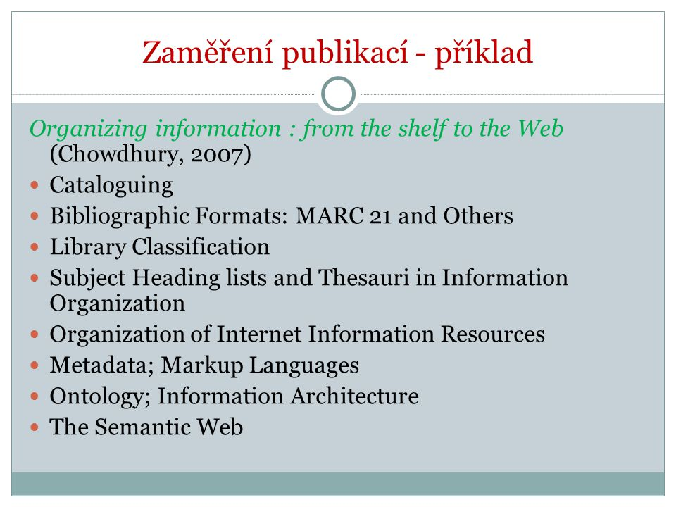 Zaměření publikací - příklad