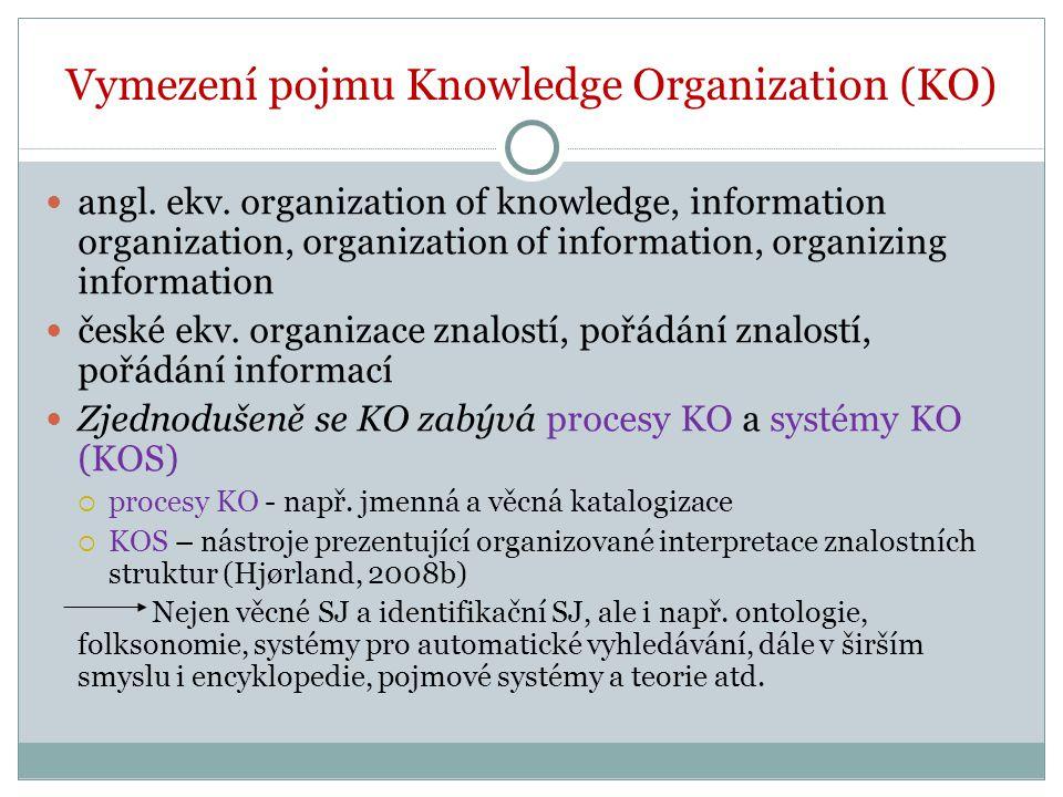 Vymezení pojmu Knowledge Organization (KO)