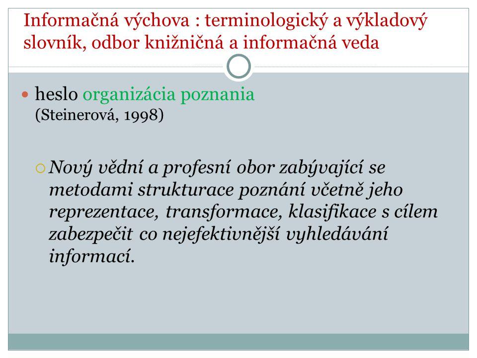 heslo organizácia poznania (Steinerová, 1998)