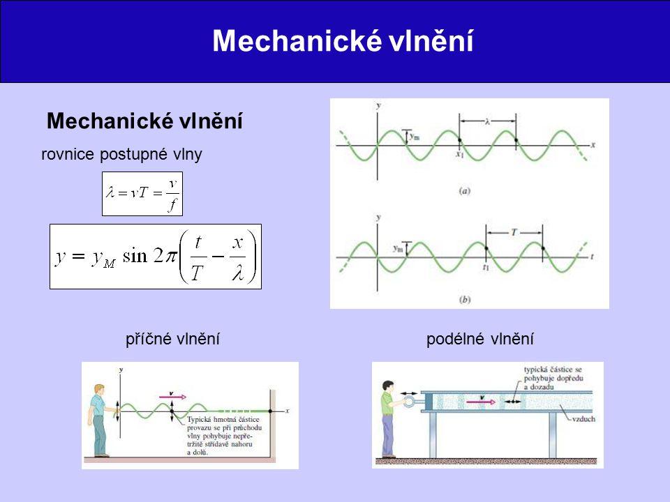 Mechanické vlnění Mechanické vlnění rovnice postupné vlny