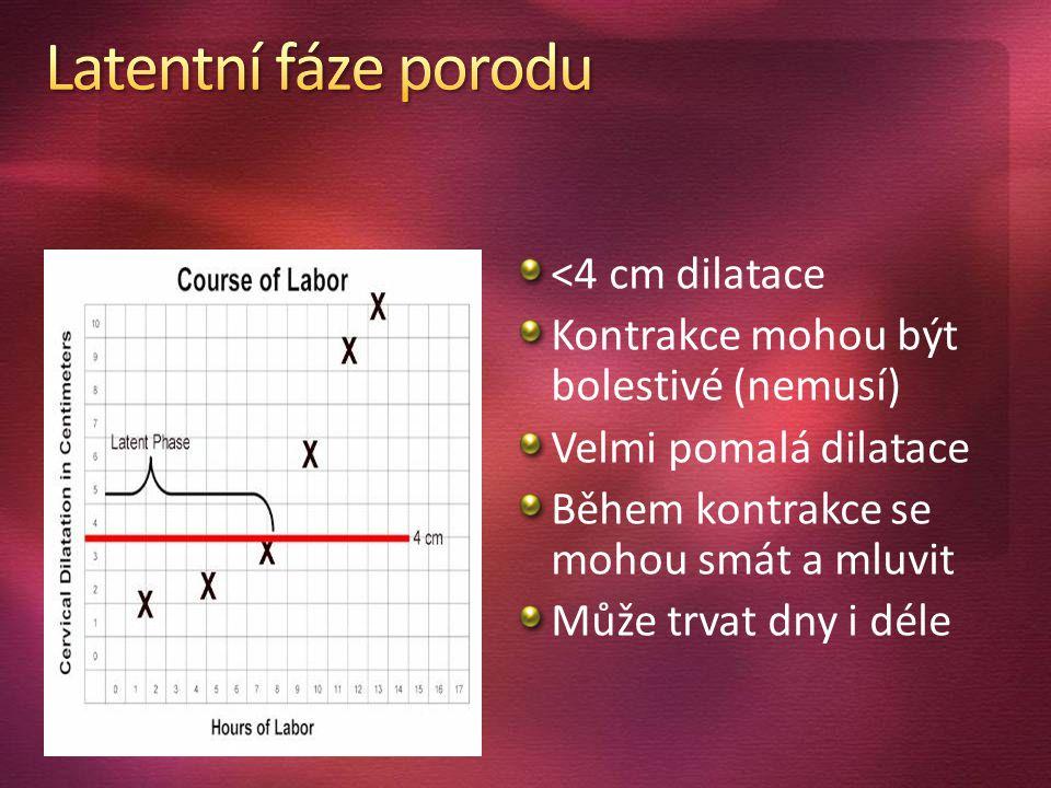 <4 cm dilatace Kontrakce mohou být bolestivé (nemusí) Velmi pomalá dilatace. Během kontrakce se mohou smát a mluvit.