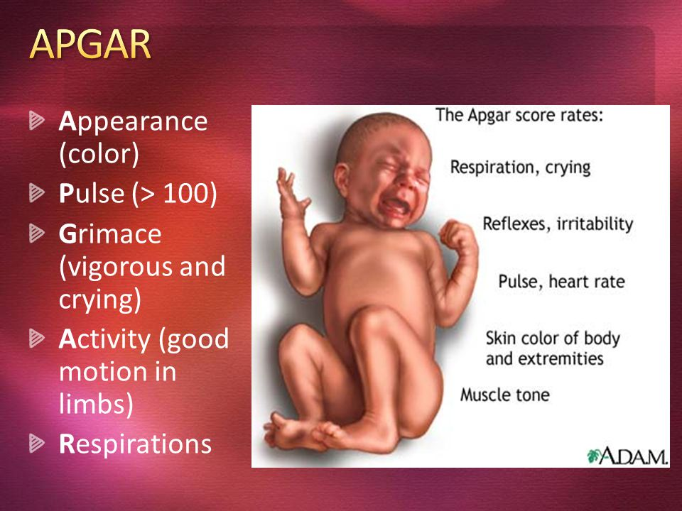 Appearance (color) Pulse (> 100) Grimace (vigorous and crying) Activity (good motion in limbs) Respirations.