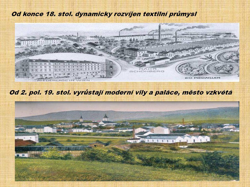 Od konce 18. stol. dynamicky rozvíjen textilní průmysl