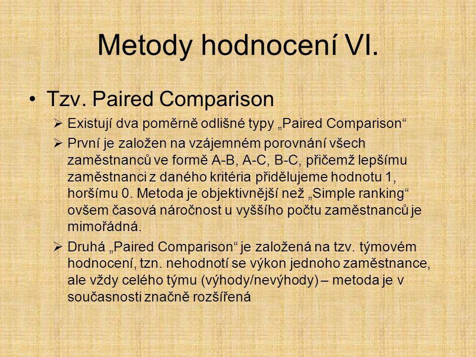 Metody hodnocení VI. Tzv. Paired Comparison