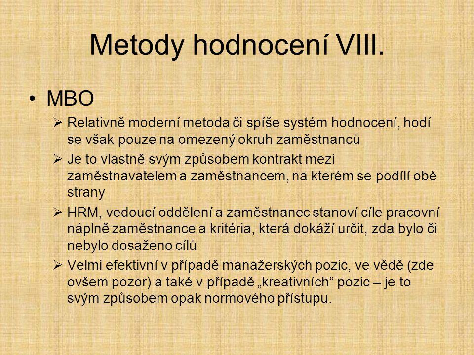 Metody hodnocení VIII. MBO