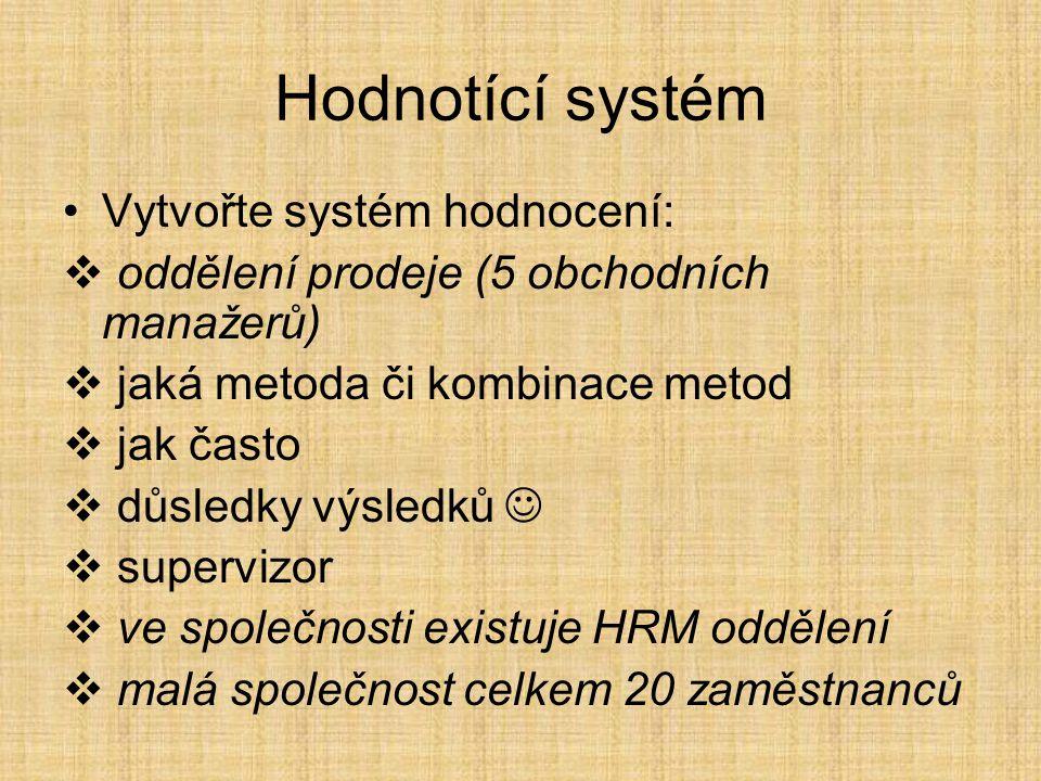 Hodnotící systém Vytvořte systém hodnocení: