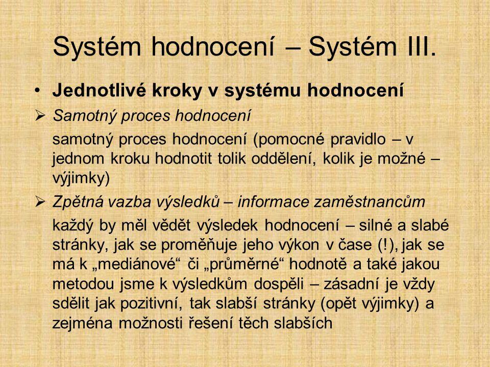 Systém hodnocení – Systém III.