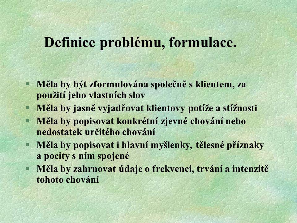 Definice problému, formulace.
