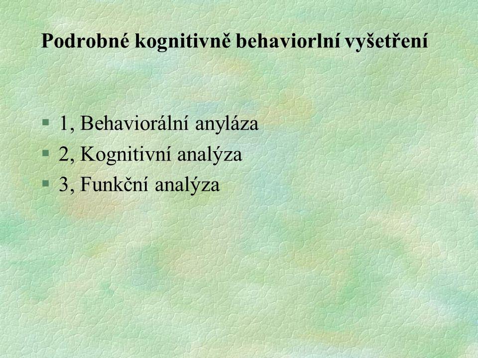 Podrobné kognitivně behaviorlní vyšetření
