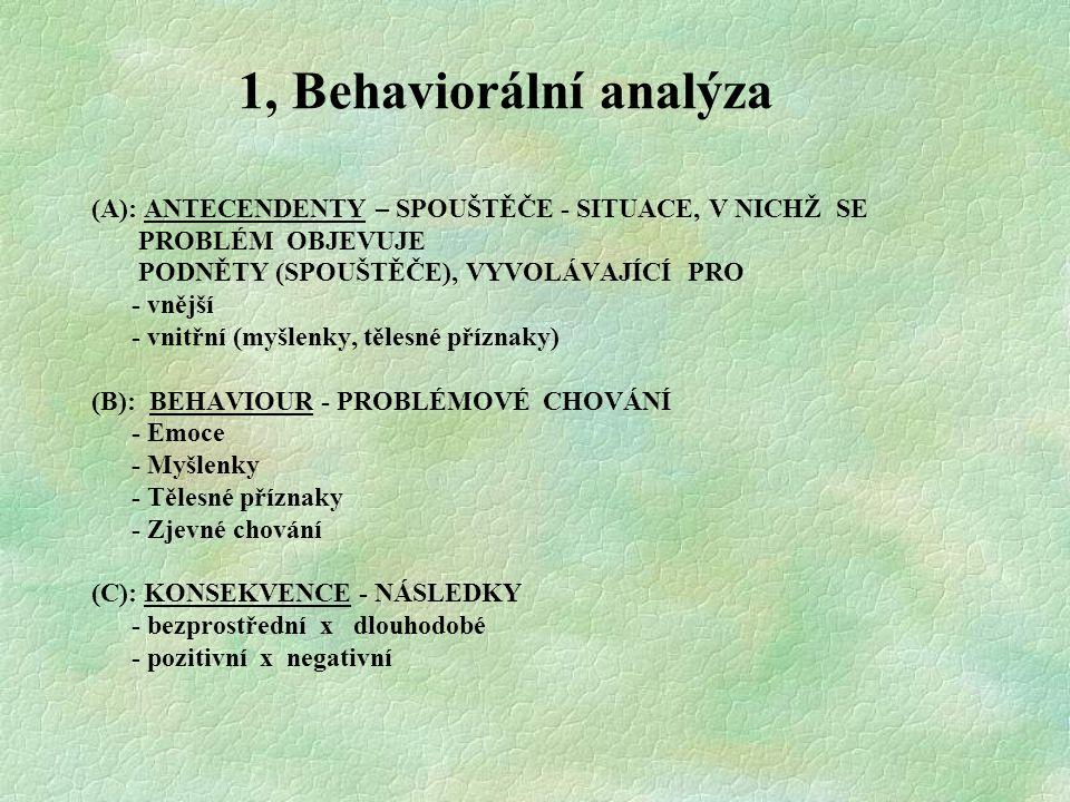 1, Behaviorální analýza (A): ANTECENDENTY – SPOUŠTĚČE - SITUACE, V NICHŽ SE. PROBLÉM OBJEVUJE. PODNĚTY (SPOUŠTĚČE), VYVOLÁVAJÍCÍ PRO.