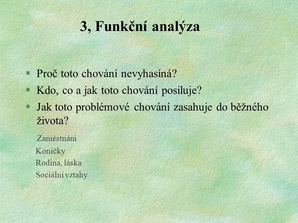 3, Funkční analýza Proč toto chování nevyhasíná
