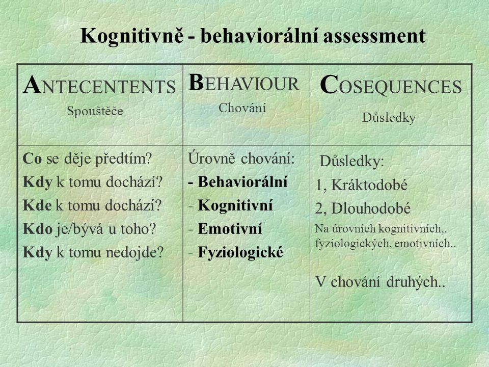 Kognitivně - behaviorální assessment