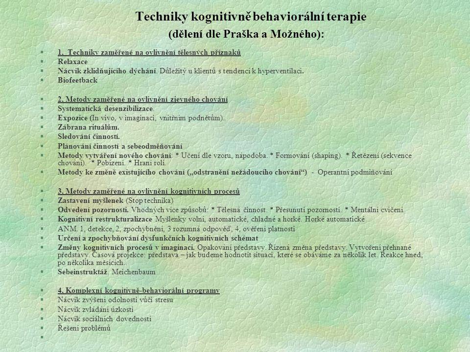 Techniky kognitivně behaviorální terapie (dělení dle Praška a Možného):