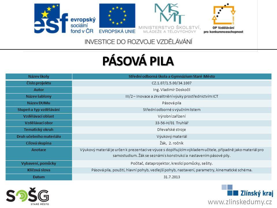 Pásová pila www.zlinskedumy.cz Název školy