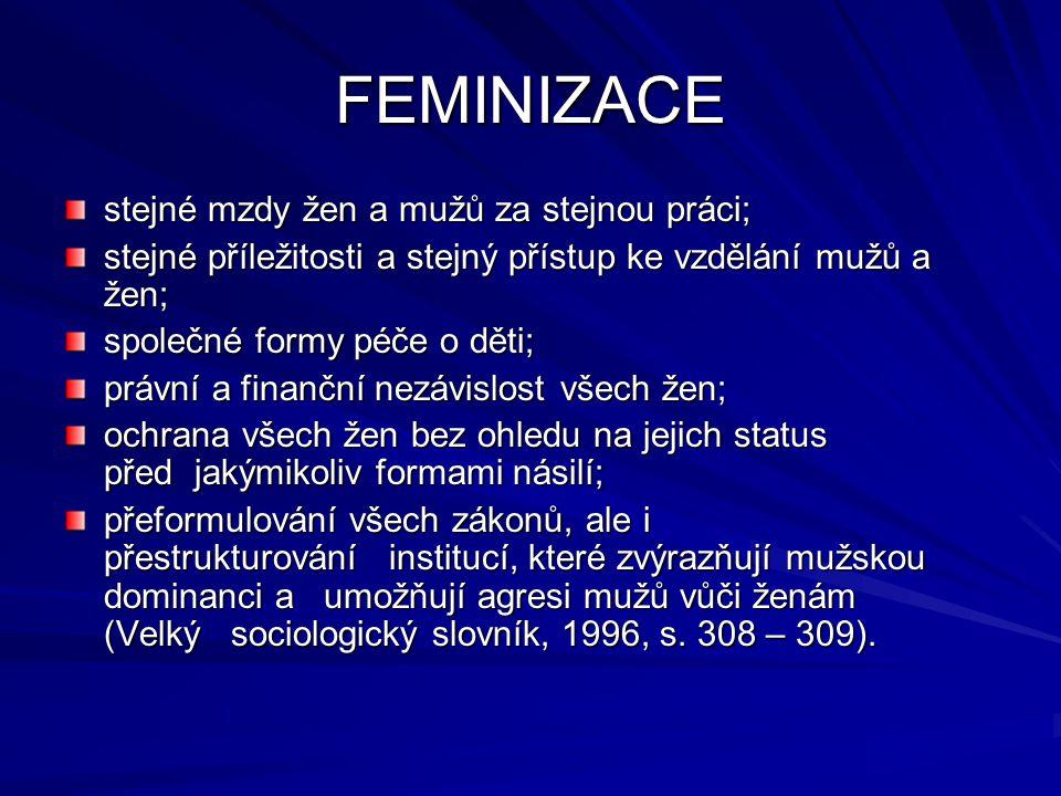 FEMINIZACE stejné mzdy žen a mužů za stejnou práci;