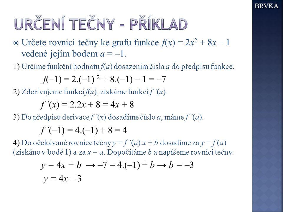 BRVKA Určení tečny - příklad. Určete rovnici tečny ke grafu funkce f(x) = 2x2 + 8x – 1 vedené jejím bodem a = –1.