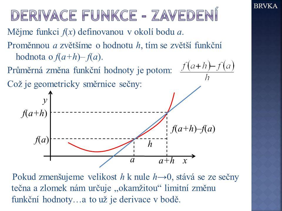 derivace funkce - zavedení