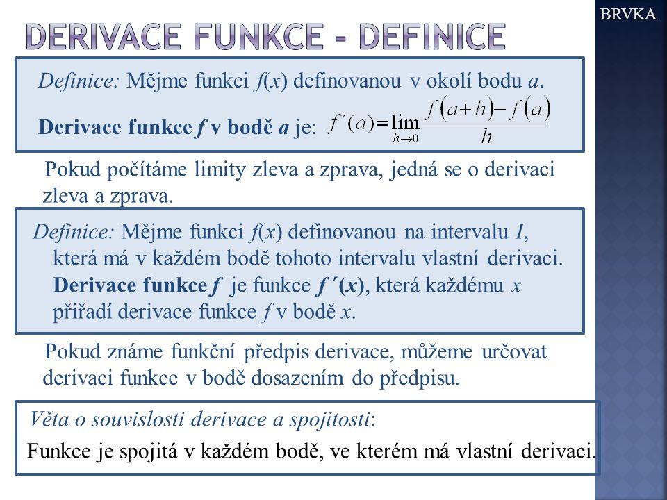 derivace funkce - definice