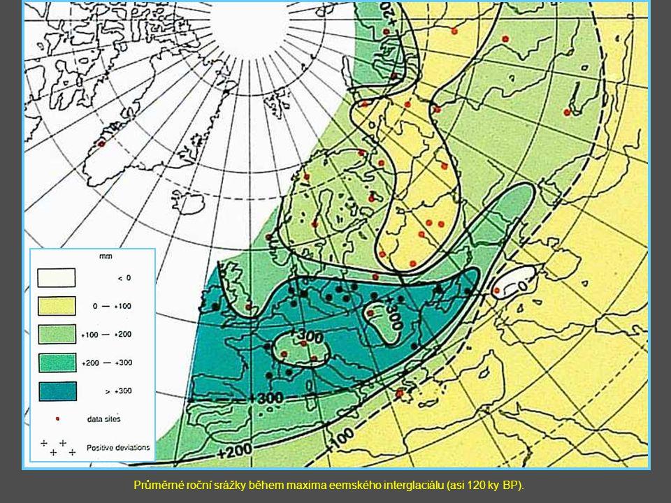 Průměrné roční srážky během maxima eemského interglaciálu (asi 120 ky BP).