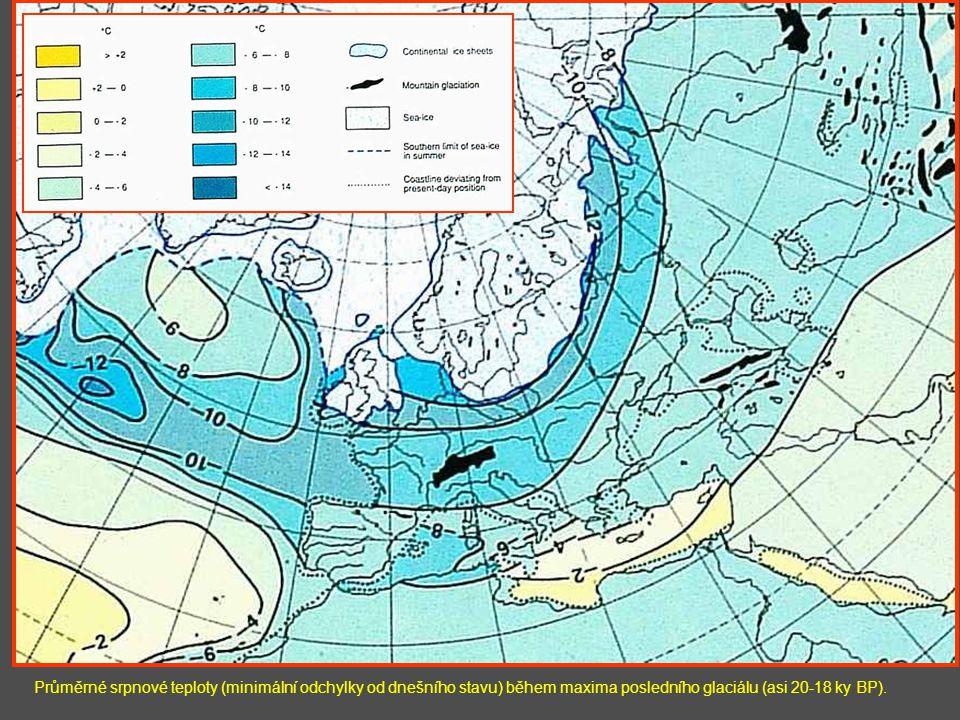 Průměrné srpnové teploty (minimální odchylky od dnešního stavu) během maxima posledního glaciálu (asi 20-18 ky BP).
