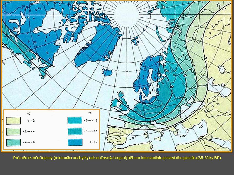 Průměrné roční teploty (minimální odchylky od současných teplot) během interstadiálu posledního glaciálu (35-25 ky BP).