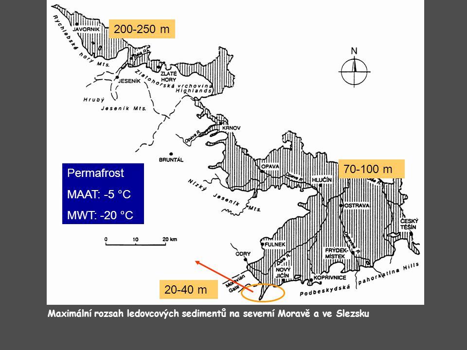 200-250 m 70-100 m Permafrost MAAT: -5 °C MWT: -20 °C 20-40 m
