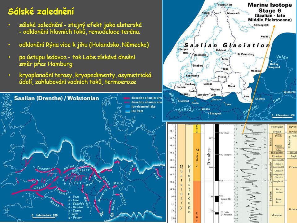 Sálské zalednění sálské zalednění - stejný efekt jako elsterské - odklonění hlavních toků, remodelace terénu.