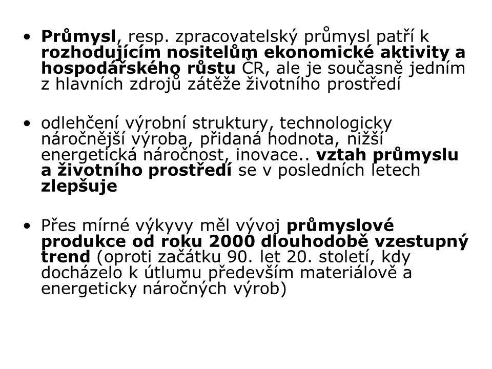 Průmysl, resp. zpracovatelský průmysl patří k rozhodujícím nositelům ekonomické aktivity a hospodářského růstu ČR, ale je současně jedním z hlavních zdrojů zátěže životního prostředí