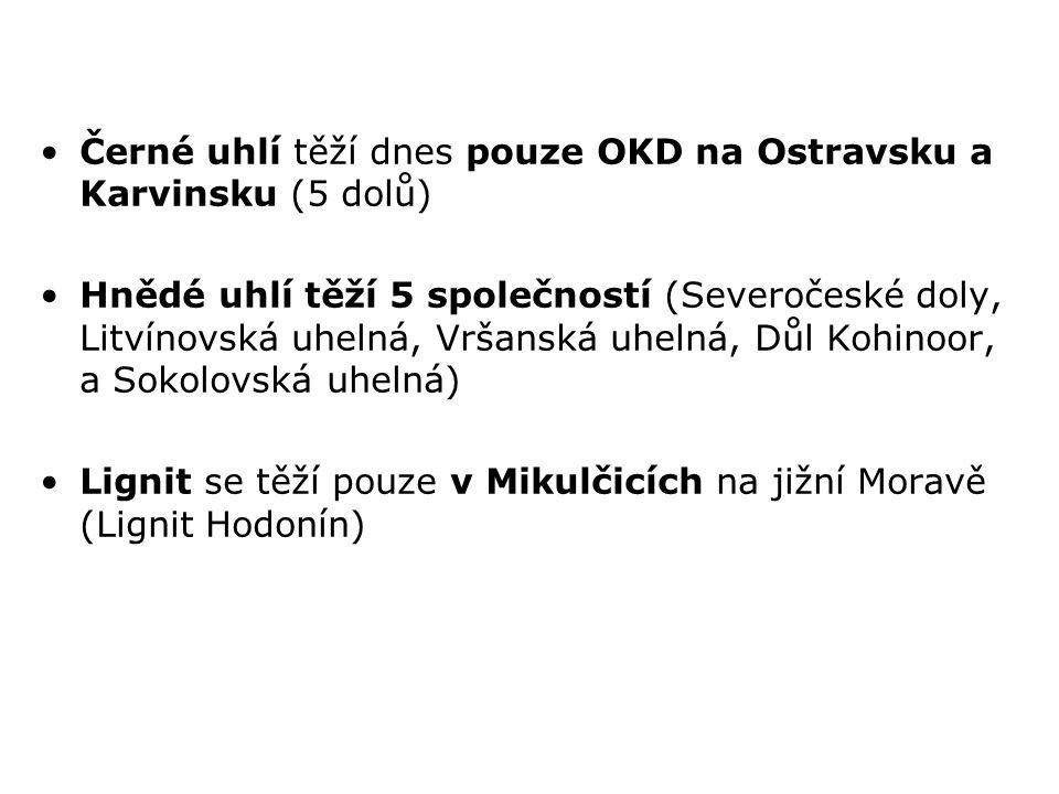 Černé uhlí těží dnes pouze OKD na Ostravsku a Karvinsku (5 dolů)