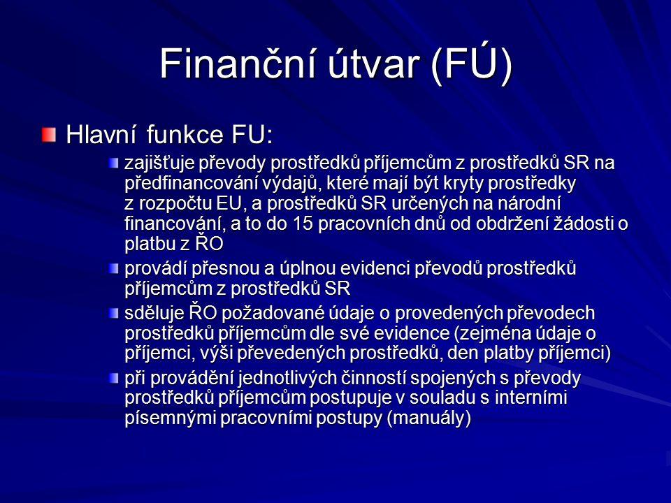 Finanční útvar (FÚ) Hlavní funkce FU: