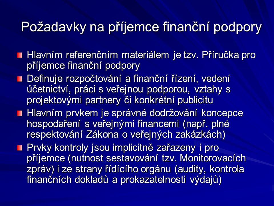 Požadavky na příjemce finanční podpory
