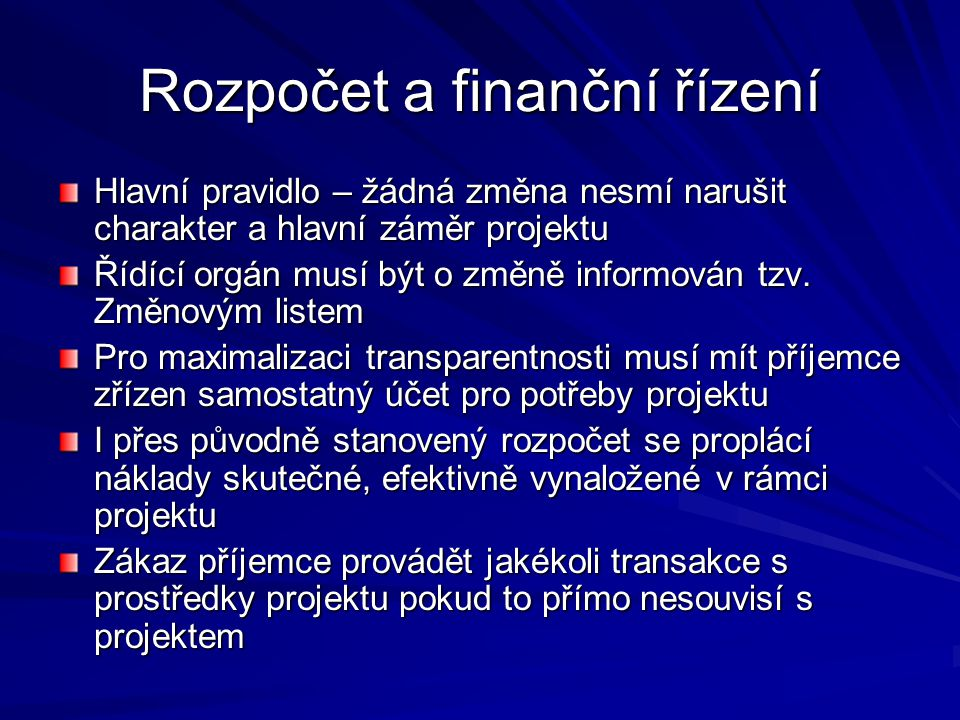 Rozpočet a finanční řízení