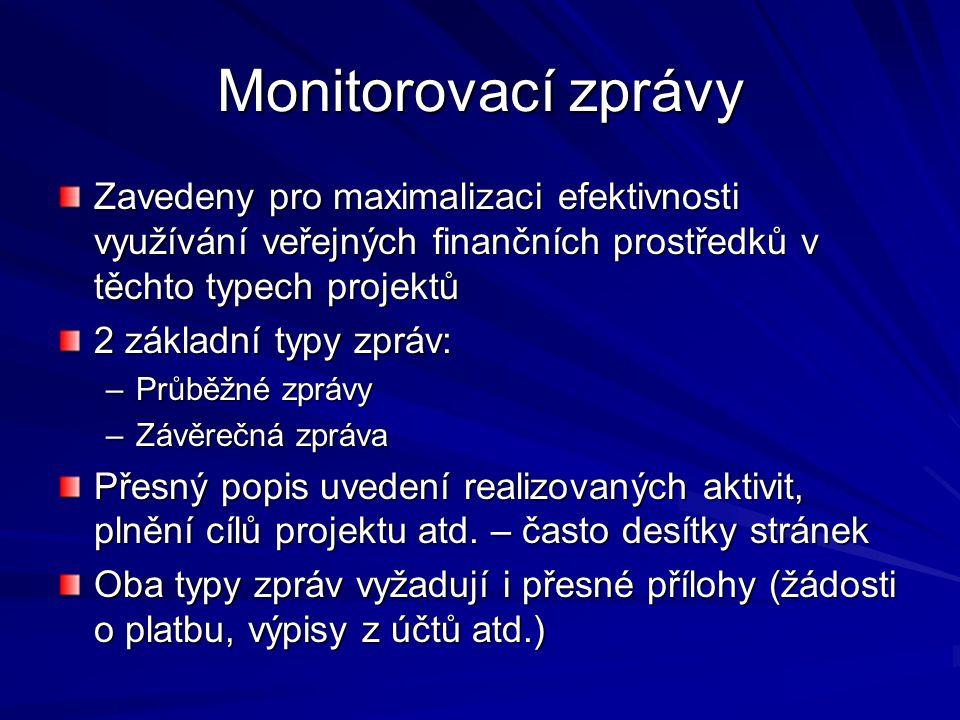 Monitorovací zprávy Zavedeny pro maximalizaci efektivnosti využívání veřejných finančních prostředků v těchto typech projektů.