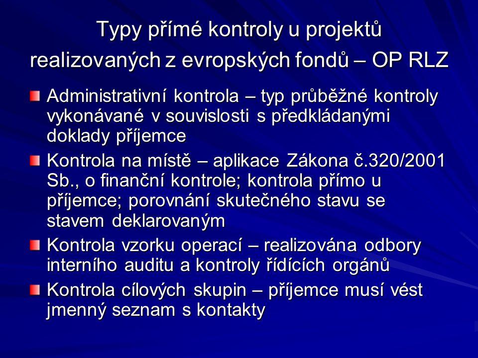 Typy přímé kontroly u projektů realizovaných z evropských fondů – OP RLZ