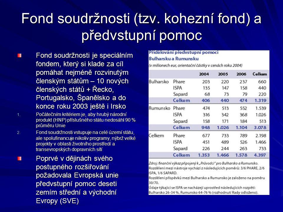 Fond soudržnosti (tzv. kohezní fond) a předvstupní pomoc