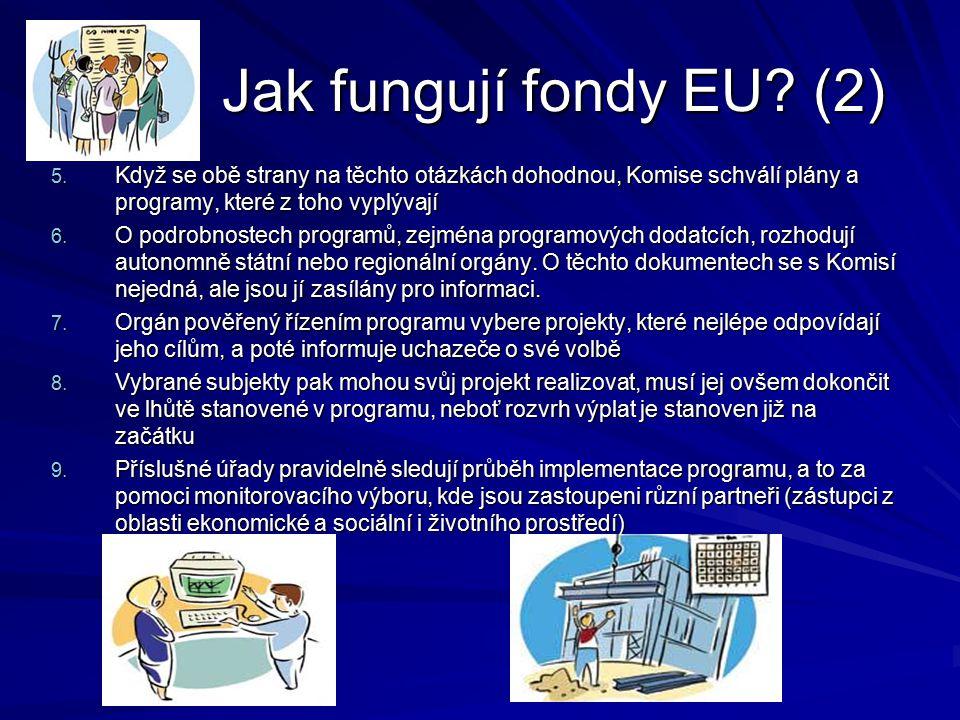 Jak fungují fondy EU (2) Když se obě strany na těchto otázkách dohodnou, Komise schválí plány a programy, které z toho vyplývají.