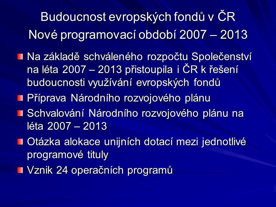 Budoucnost evropských fondů v ČR Nové programovací období 2007 – 2013