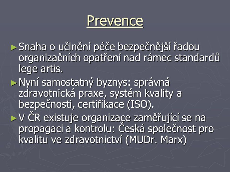 Prevence Snaha o učinění péče bezpečnější řadou organizačních opatření nad rámec standardů lege artis.