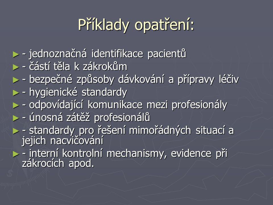 Příklady opatření: - jednoznačná identifikace pacientů