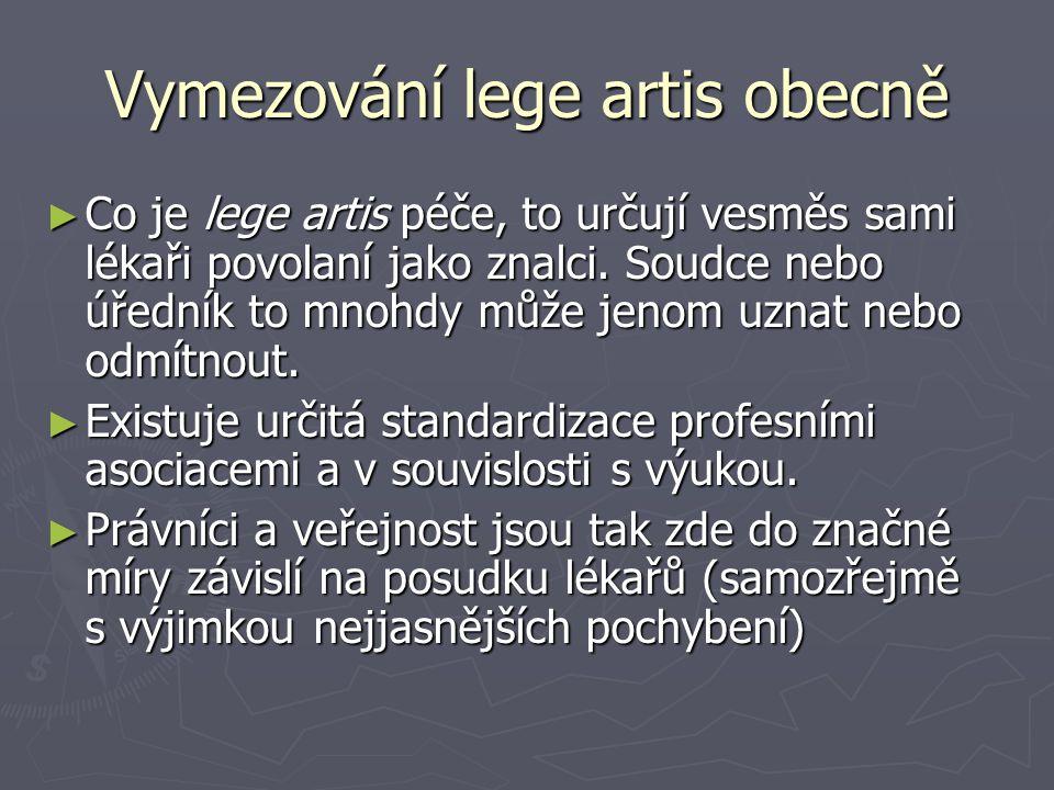 Vymezování lege artis obecně