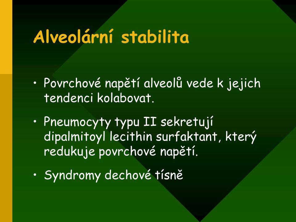 Alveolární stabilita Povrchové napětí alveolů vede k jejich tendenci kolabovat.