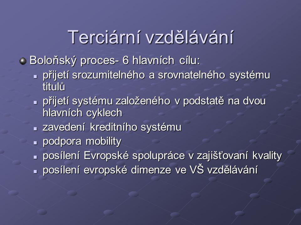 Terciární vzdělávání Boloňský proces- 6 hlavních cílu: