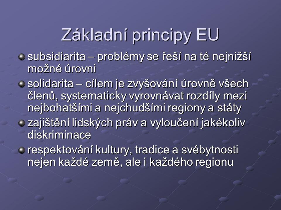 Základní principy EU subsidiarita – problémy se řeší na té nejnižší možné úrovni.