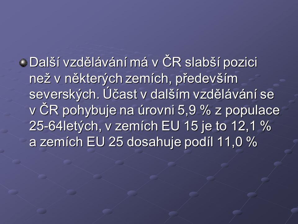Další vzdělávání má v ČR slabší pozici než v některých zemích, především severských.