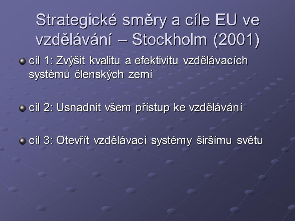 Strategické směry a cíle EU ve vzdělávání – Stockholm (2001)