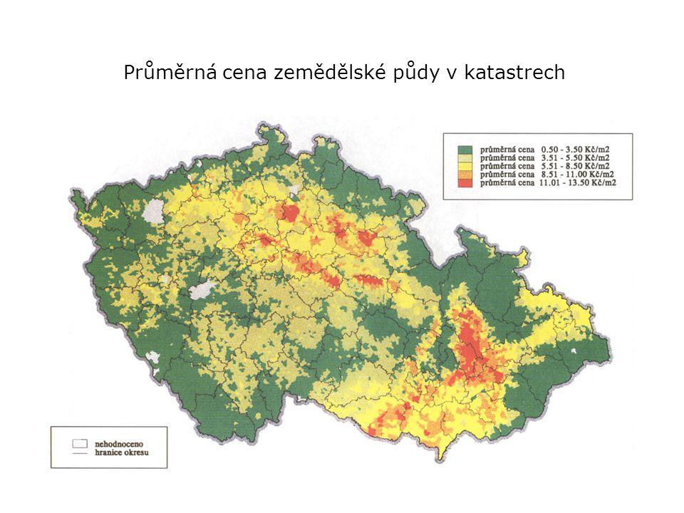 Průměrná cena zemědělské půdy v katastrech