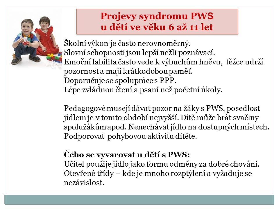 Projevy syndromu PWS u dětí ve věku 6 až 11 let